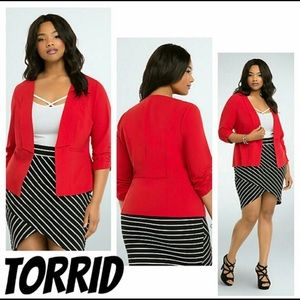 torrid Jackets & Coats - Torrid Red Ruched Sleeve Blazer Size 4X